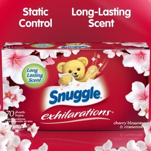 $2 Snuggle Exhilarations Fabric Softener Dryer Sheets, Cherry Blossom and Rosewood, 70 Count