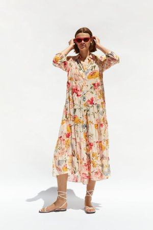 FLORAL PRINT DRESS - Midi-DRESSES-WOMAN | ZARA United States