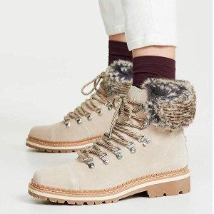 8折到手¥458Sam Edelman 皮毛拼接女士真皮踝靴 多色可选