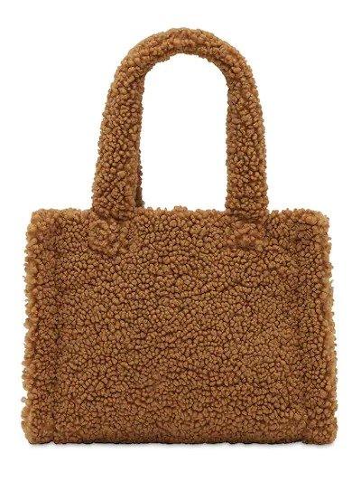 棕色毛绒托特包