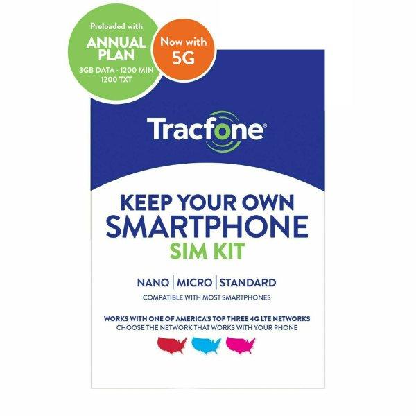 Tracfone SIM卡 + 1年通信服务, 含1200分钟通话+1200条短信