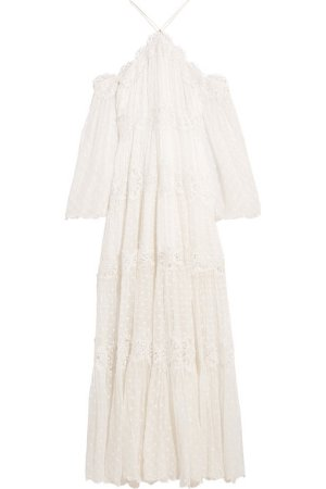 Zimmermann | Good Times lace-paneled Swiss-dot silk-georgette maxi dress | NET-A-PORTER.COM