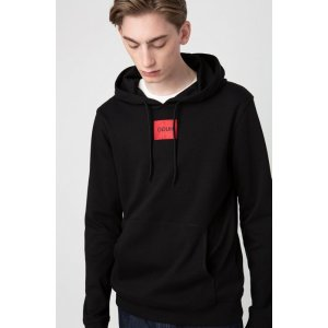 HUGO- Regular-fit hooded sweater in interlock cotton
