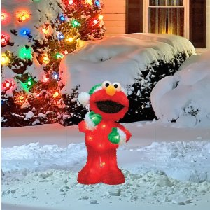 Expired $14.99 ProductWorks 18-Inch Pre-Lit Sesame Street Elmo in Green Santa Hat Christmas Yard Decoration