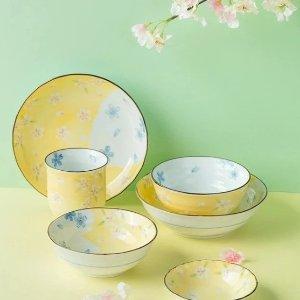 美浓瓷器樱花主题餐具礼盒6件装