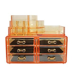 $10.49Yellow-Orange Acrylic Cosmetics Makeup Organizer 3 Drawers with 16 Compartments Top Section