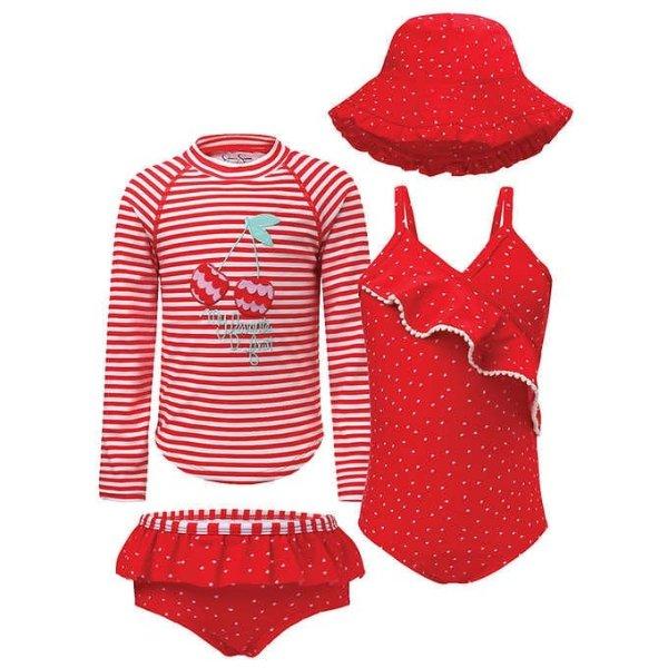 女小童泳衣4件套