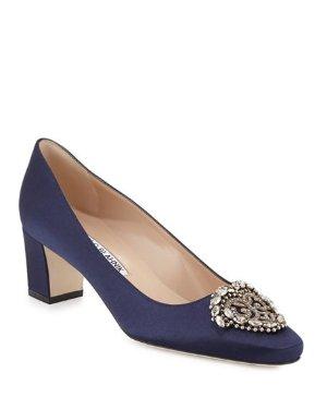 Neiman Marcus Okkato Jeweled Satin 5cm高跟鞋