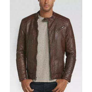 e23eca9a621 Pronto Uomo Cognac Modern Fit Faux Leather Moto Jacket - Men s Casual  Jackets