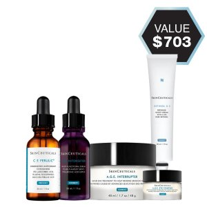 SkinCeuticals含紫米精华30ml+AGE面霜48ml抗老护肤5件套