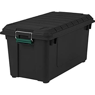 $55.75IRIS USA Remington 82 Quart WEATHERTIGHT Storage Box, Store-It-All Utility Tote, 4 Pack, Black