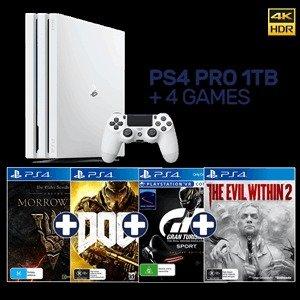 PlayStation 4 Pro 1TB 白色+4款游戏