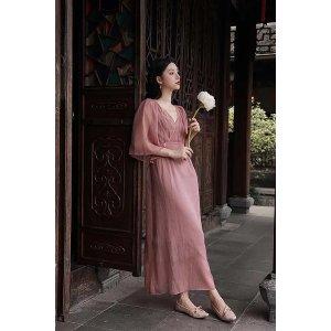 Ecru EmissaryMOLIFUSU   Peach Embroidered Dress