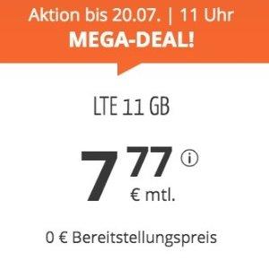 月租仅€7.77 免除€19.99接通费明早截止!本周最划算!每月11GB包月上网++60min免费电话