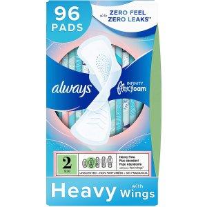 alwaysInfinity Feminine Pads for Women, Size 2, 96 Count