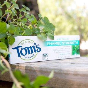 $4.74(原价$9.99)史低价:Tom's of Maine 薄荷味亮白牙膏  85mL x 2个装 无氟配方