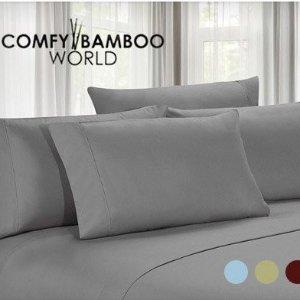 $18.39(原价$129)超细纤维床品4件套 8色可选 不易皱 居家床品好物