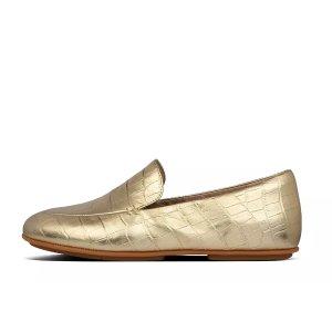 FitFlop金色鳄鱼皮压纹平底鞋