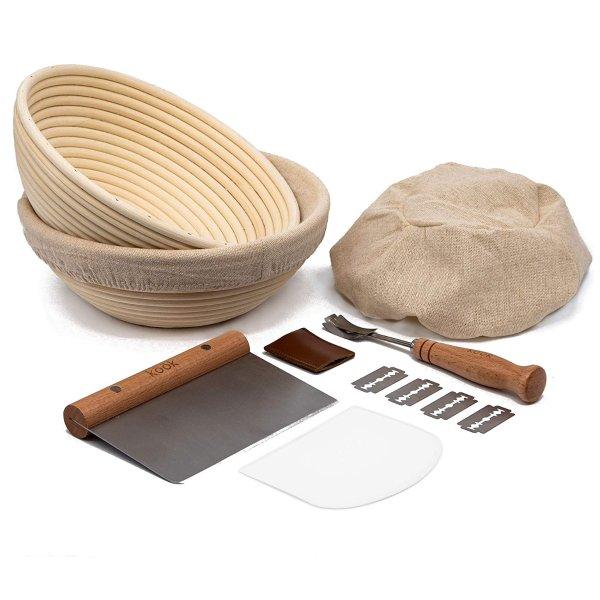 Kook 藤制面包发酵篮+工具套装