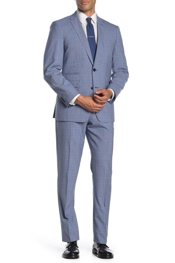 Medium Blue Plaid Slim 西装套组