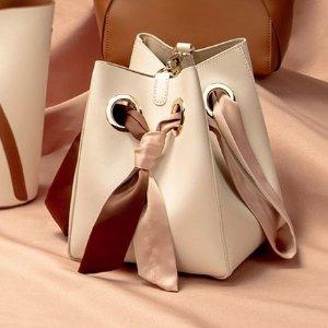 封面同款粉棕色丝带小水桶 粉棕配色