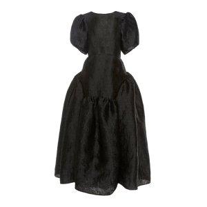 Katrine Open-Back Matelasse Dress