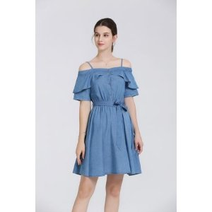 CorinneDenim Off-The-Shoulder Dress