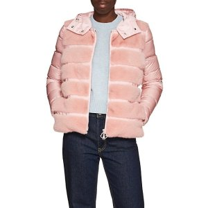 MonclerMink-Fur-Trimmed Down Puffer Jacket