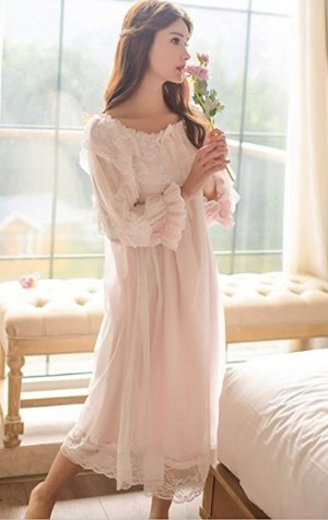 Women's Victorian Nightgown Vintage Sleepwear Lace Robe Chemise Lounge Dress Pajamas (Pink) at Amazon Women's Clothing store