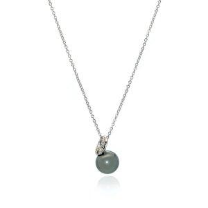 Mikimoto18k White Gold Diamond 0.10ct And Pearl Pendant Necklace
