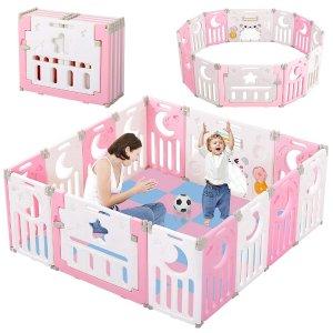 6.2折 €99.99(原价€159.99)Dripex 儿童安全围栏 14片装可折叠 6色可选 带益智玩具