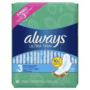 $6.97Always 超薄加长日用护翼无香卫生巾38个装