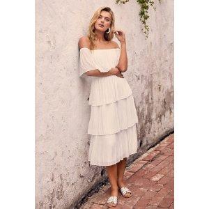 LULUSGala Ready White Off-the-Shoulder Ruffle Midi Dress