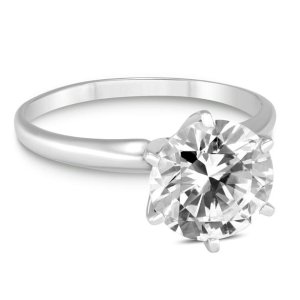 SzulPREMIUM QUALITY - 1 Carat Diamond Solitaire Ring in 14K White Gold (G-H Color, SI1-SI2 Clarity)