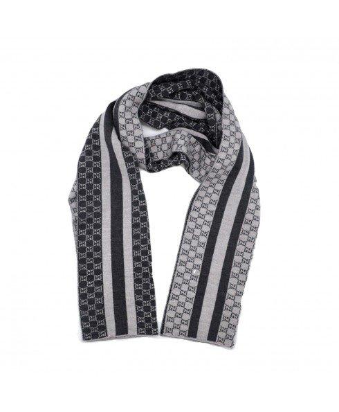 灰黑条纹围巾