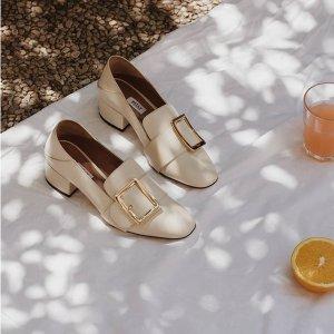6折起 收封面款Bally 可踩跟方扣美鞋 奶白、纯黑等黄金码全