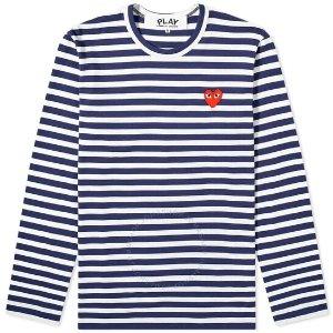 COMME des GARCONSPlay Navy 蓝色爱心条纹上衣