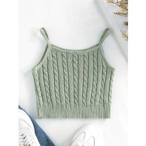 ZAFUL Cable Knit Rib Hem Crop Cami Top LIGHT COFFEE LIGHT GREEN WHITE