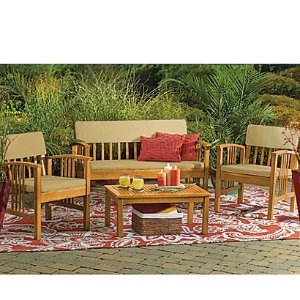 $1194-Piece Westerly Acacia Wood Deep Seating Chat Set
