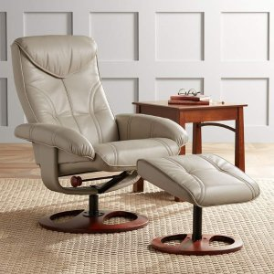 Newport Taupe Swivel Recliner and Slanted Ottoman - #8M418 | Lamps Plus