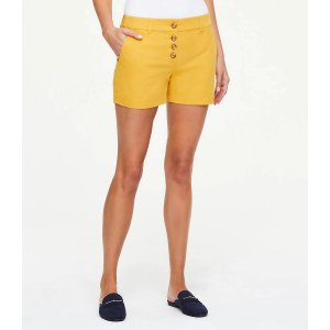 LOFT OutletButton Front Shorts with 4 Inch Inseam