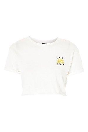 Topshop 'Easy Peasy' Slogan Cropped T-Shirt