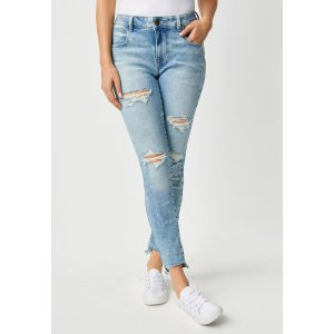 Vintage High Waisted Light Blue Ripped Jeans With Step Hem