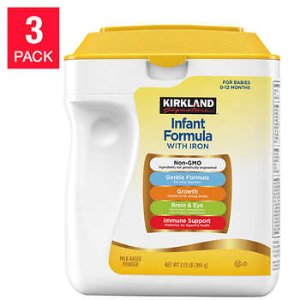 Kirkland Signature Non-GMO* Infant Formula 34 oz, 3-count
