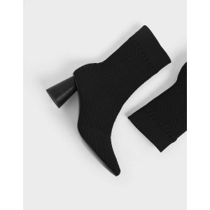 Charles & KeithFlyknit Sculptural Heel Sock Boots