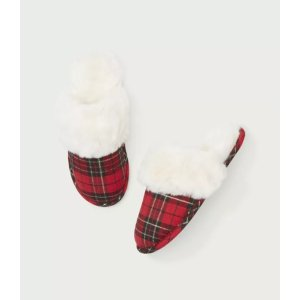 LOFT Outlet15% off $100Plaid Faux Fur Slippers