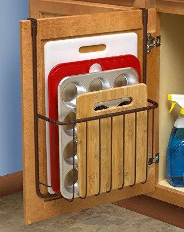 Spectrum Diversified Ashley Cookie Sheet Organizer Cutting Board Holder Bakeware Organizer Bronze Over The Cabinet Door