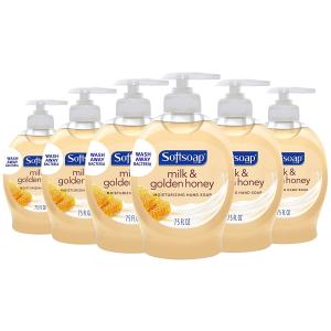 $4.15包邮 平均$0.69/瓶Softsoap 牛奶蜂蜜香滋润洗手液 6瓶装