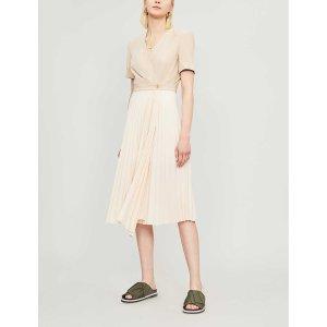 SandroPleated short sleeved crepe dress