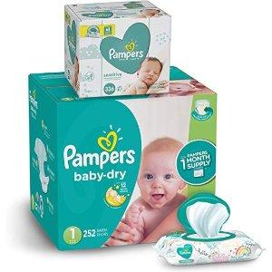 Pampers立减$10尿不湿新生儿-1 号(8-14 磅) 252 片+宝宝湿巾336 抽